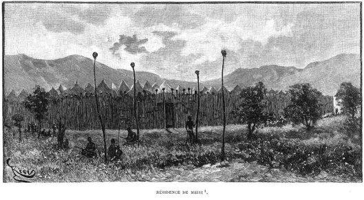 Heads on poles, Msiris Compound, a Masai village, rotogravure, 1892.