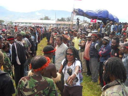 "Caption statement by the Free West Papua Campaign:  ""West Papua, Melanesia. Rally organised by the KNPB. These are the images the Indonesian government is trying to stop the world seeing. The Indonesian government always lies to the world and says that West Papuans who want freedom are just small groups in the jungle. In fact the vast majority of peaceful civil society want freedom. This is why Indonesia dosen't want foreign journalists in West Papua. Because every West Papuan who they meet tells them they want freedom. This is the truth in West Papua. That almost everyone wants to be free. This is the truth that Indonesia is trying to hide. West Papuans want to be free and Indonesia believes it has the right to torture and murder those who want to be free."""