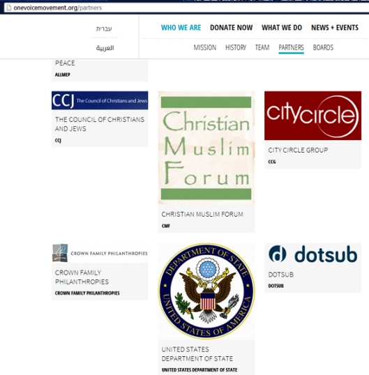 Screen capture shows emblem of the United States Department of State as a partner in an organization with offices in Israel supporting a campaign against incumbent President Benjamin Netanyahu.